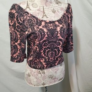 Say anything XL CROPPED PAISLEY TOP